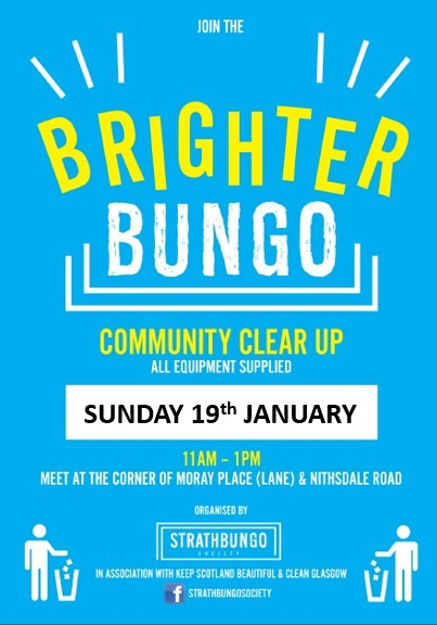 Brighter Bungo - this Sunday, January 19th @ corner of Moray Place (lane) and Nithsdale Road